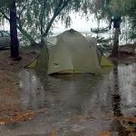 Горные туристы умеют выбрать место для палатки